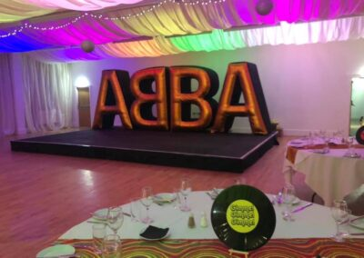 ABBA Rebjorn giant gold lettering set up on stage