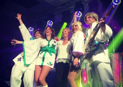 ABBA Rebjorn celebrating a performance on stage